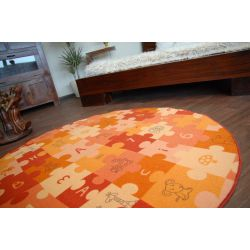 Tapis enfant PUZZLES orange cercle