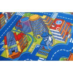 Килим детски улици голям град синьо
