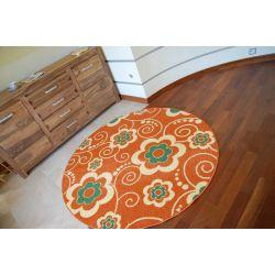 Carpet WELIRO circle FLOWERS terracotta