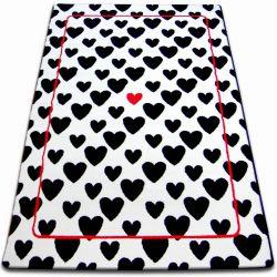Килим SKETCH - F755 біло-чорний серце